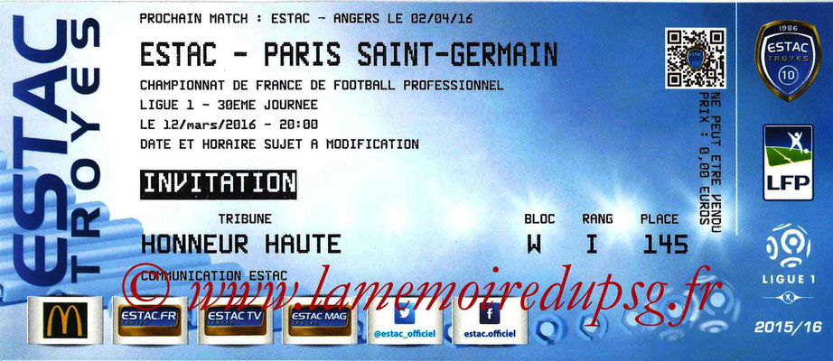 Ticket  Troyes-PSG  2015-16