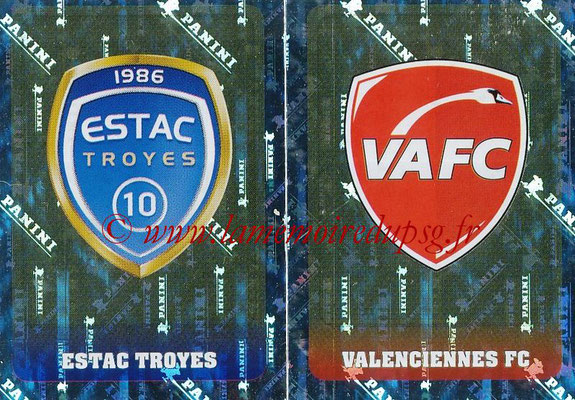 2018-19 - Panini Ligue 1 Stickers - N° 560 - Ecussons ESTAC Troyes + Valenciennes AFC