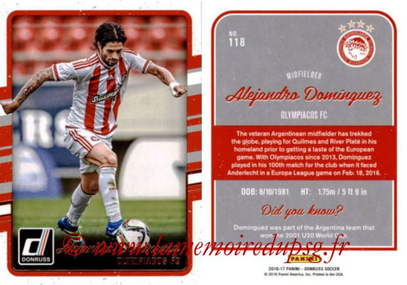 2016 - Panini Donruss Cards - N° 118 - Alejandro DOMINGUEZ (Olympiacos FC)