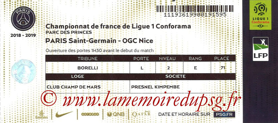 Tickets  PSG-Nice  2018-19