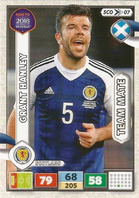 2018 - Panini Road to FIFA World Cup Russia Adrenalyn XL - N° SCO07 - Grant HANLEY (Ecosse) (UK Version)