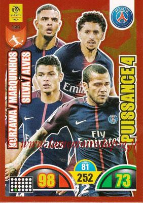 2018-19 - Panini Adrenalyn XL Ligue 1 - N° 399 - Layvin KURZAWA + MARQUINHOS + Thiago SILVA + Dani ALVES (Paris Saint-Germain) (Puissance 4)