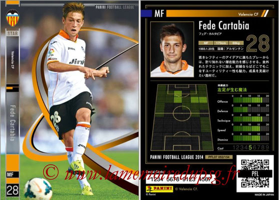 Panini Football League 2014 - PFL07 - N° 052 - Fede CARTABIA (FC Valence) (Star)
