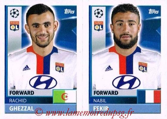 2016-17 - Topps UEFA Champions League Stickers - N° LYO 16-17 - Nabil FERKIR + Rachid GHEZZAL (Olympique Lyonnais)