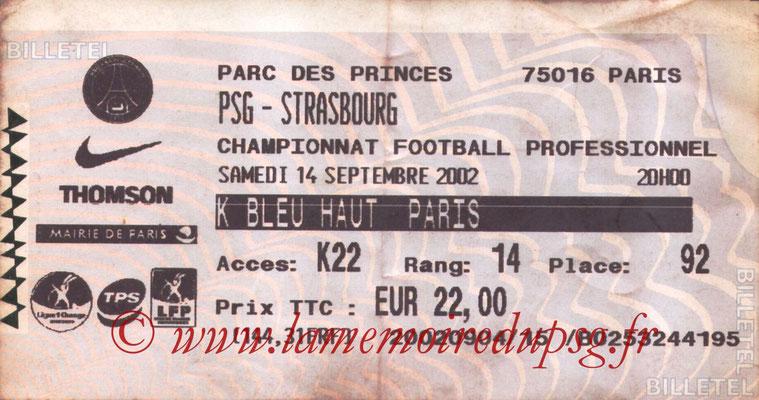 Tickets  PSG-Strasbourg  2002-03