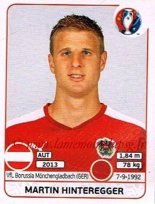 Panini Euro 2016 Stickers - N° 634 - Martin HINTEREGGER (Autriche)