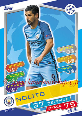 2016-17 - Topps UEFA Champions League Match Attax - N° MC16 - NOLITO (Manchester City FC)