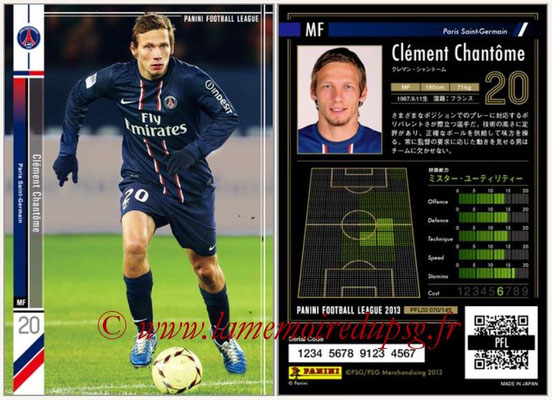Panini Football League 2013 - PFL03 - N° 070 - Clement Chantome (Paris Saint-Germain)