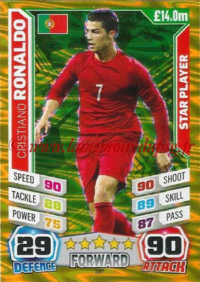 Topps Match Attax England 2014 - N° 197 - Cristiano RONALDO (Portugal) (Star Player)