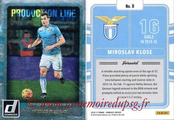 2016 - Panini Donruss Cards - N° PL08 - Miroslav KLOSE (SS Lazio) (Production Line)