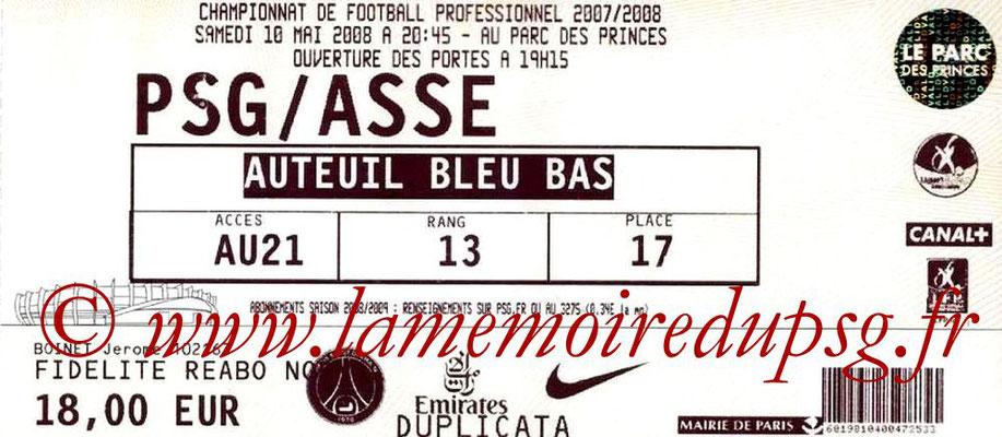 Tickets  PSG-Saint Etienne  2007-08