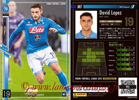 Panini Football League 2015 - PFL12 - N° 029 - David LOPEZ (SSC Napoli)