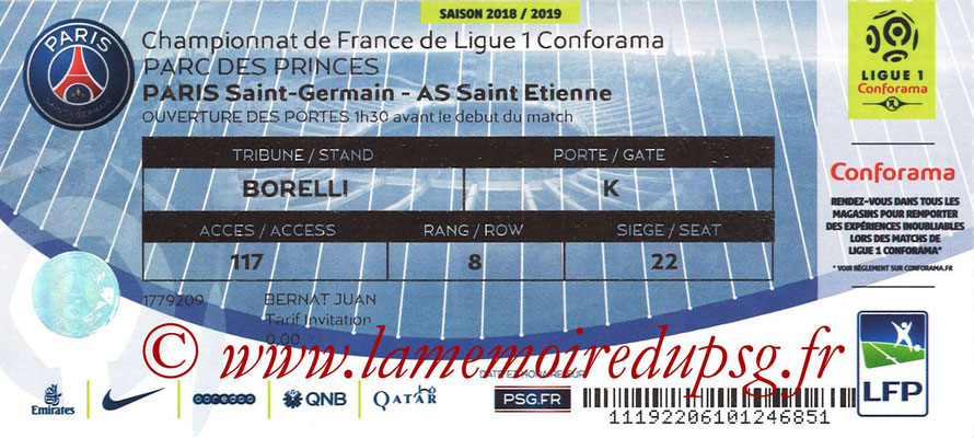 Tickets  PSG-Saint Etienne  2018-19