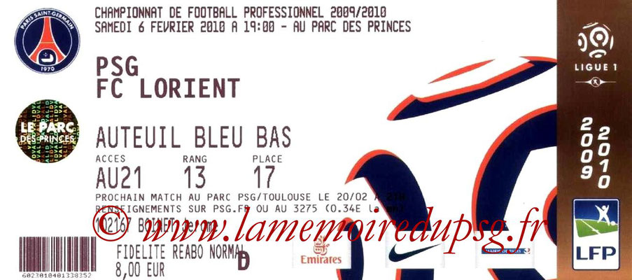 Tickets  PSG-Lorient  2009-10