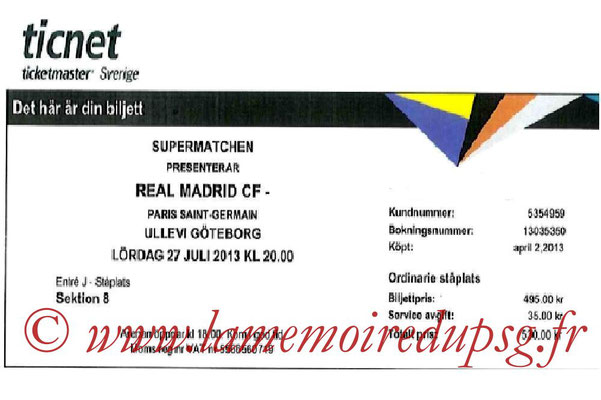 Tickets  PSG-Real Madrid  2013-14