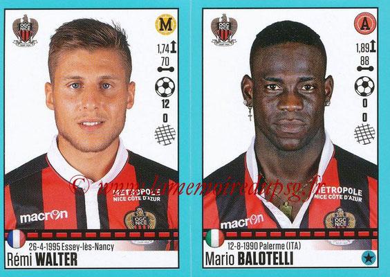 2016-17 - Panini Ligue 1 Stickers - N° 668 + 669 - Rémi WALTER + Mario BALOTELLI (Nice)