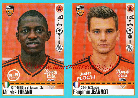 2016-17 - Panini Ligue 1 Stickers - N° 334 + 335 - Moryké FOFANA + Benjamin JEANNOT (Lorient)