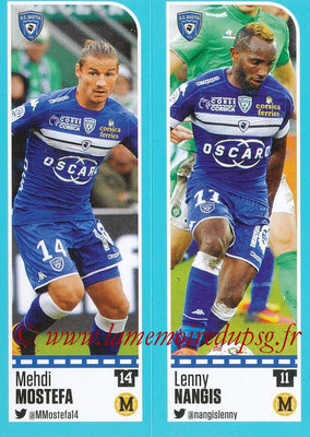 2016-17 - Panini Ligue 1 Stickers - N° 058 + 059 - Mehdi MOSTEFA + Lenny NANGIS (Bastia)