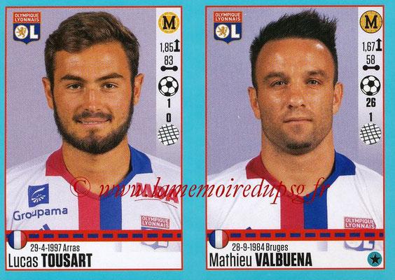 2016-17 - Panini Ligue 1 Stickers - N° 372 + 373 - Lucas TOUSART + Mathieu VALBUENA (Lyon)