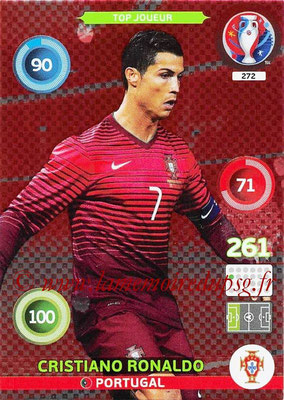 Panini Euro 2016 Cards - N° 272 - Cristiano RONALDO (Portugal) (Top Joueur)
