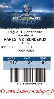 Tickets  PSG-Bordeaux  2019-20