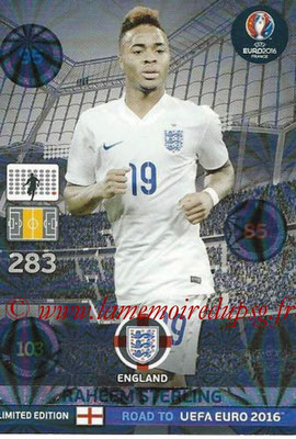 Panini Road to Euro 2016 Cards - N° LE-RS - Raheem STERLING (Angleterre) (Limited Edition)