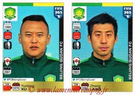 2015-16 - Panini FIFA 365 Stickers - N° 256-257 - Yunlong XU + Zheng LANG (Beijing Guoan FC)