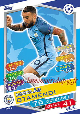2016-17 - Topps UEFA Champions League Match Attax - N° MC5 - Nicolas OTAMENDI (Manchester City FC)