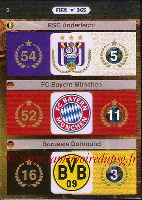 2015-16 - Panini Adrenalyn XL FIFA 365 - N° 002 - Logo et Palmarès RSC Anderlecht + FC Bayern Munich + Borussia Dortmund