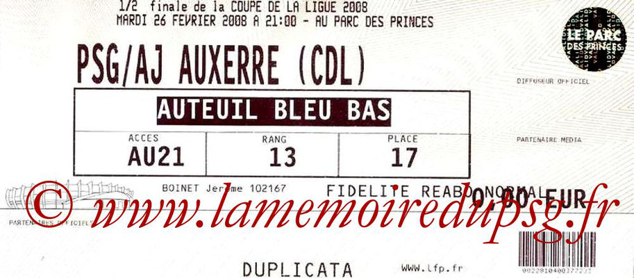 Tickets  PSG-Auxerre  2007-08