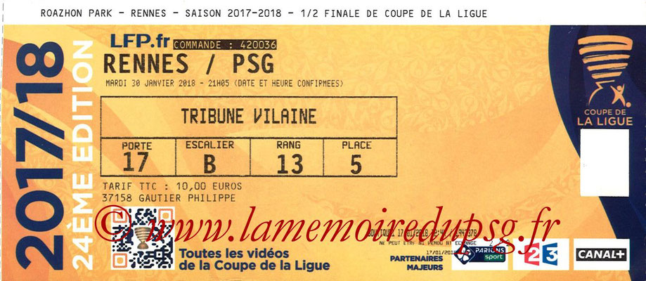 Ticket  Rennes-PSG  2017-18
