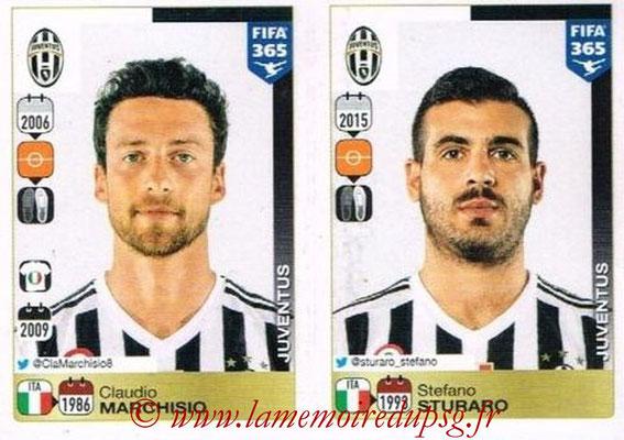 2015-16 - Panini FIFA 365 Stickers - N° 573-574 - Claudio MARCHISIO + Stefano STURARO (Juventus FC)