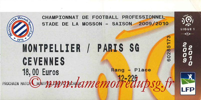 Tickets  Montpellier-PSG  2008-09