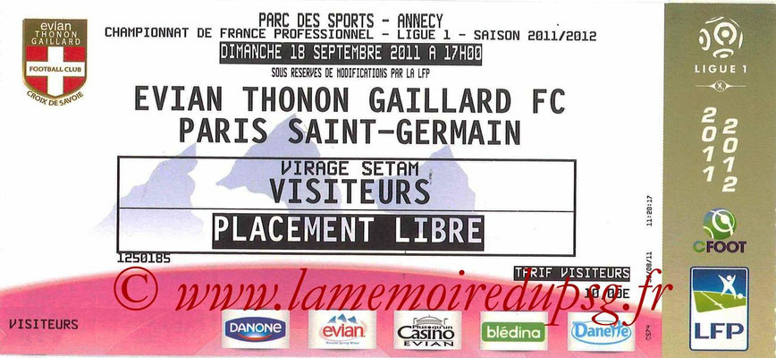 Tickets Evian-PSG  2011-12
