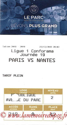 Tickets  PSG-Nantes  2018-19