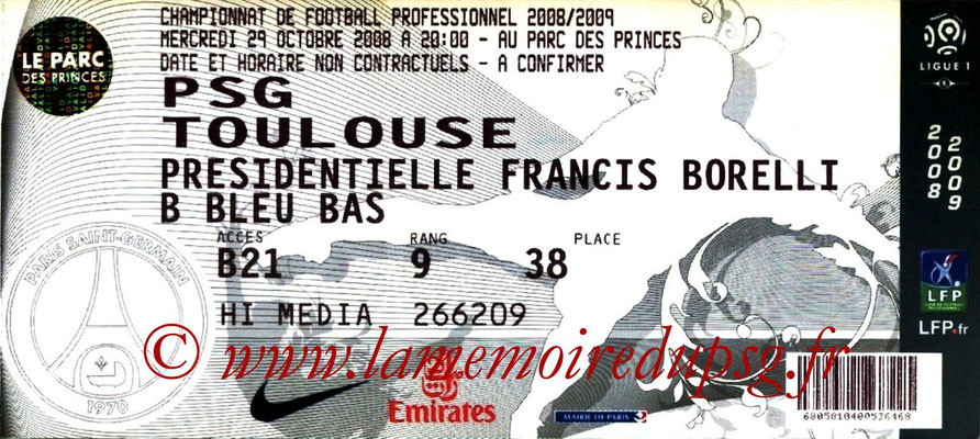 Tickets  PSG-Toulouse  2008-09