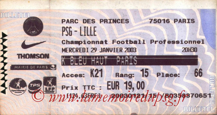 Tickets  PSG-Lille  2002-03
