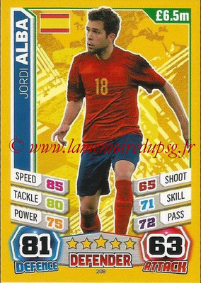 Topps Match Attax England 2014 - N° 208 - Jordi ALBA (Espagne)