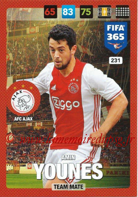 2016-17 - Panini Adrenalyn XL FIFA 365 - N° 231 - Amin YOUNES (AFC Ajax)