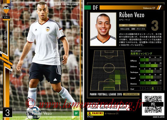 Panini Football League 2015 - PFL10 - N° 039 - Ruben VEZO (FC Valence)