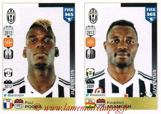 2015-16 - Panini FIFA 365 Stickers - N° 562-566 - Paul POGBA + Kwadwo ASAMOAH (Juventus FC)