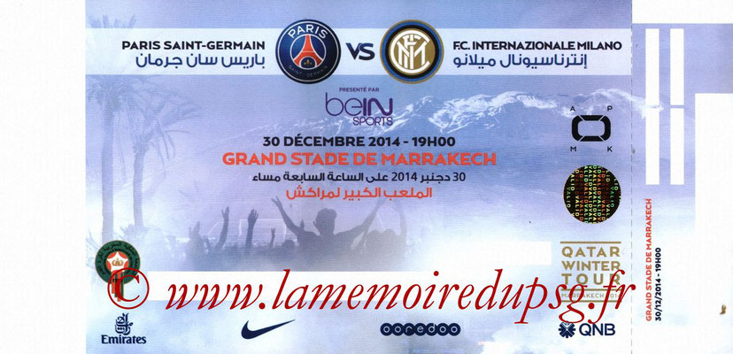 Ticket  Inter Milan-PSG  2014-15