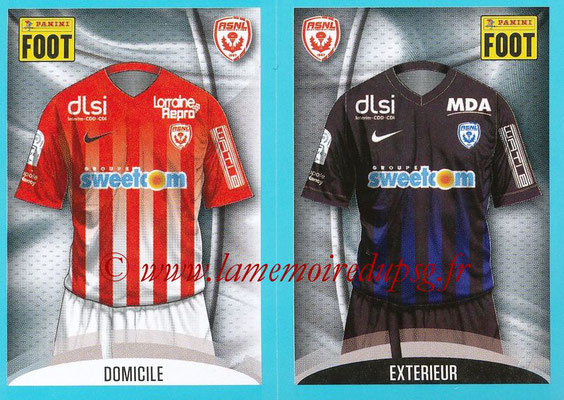 2016-17 - Panini Ligue 1 Stickers - N° 552 + 553 - Maillot Domicile + Extérieur (Nancy)