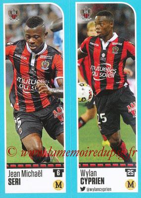 2016-17 - Panini Ligue 1 Stickers - N° 646 + 647 - Jean Michaël SERI + Wylan CYPRIEN (Nice)