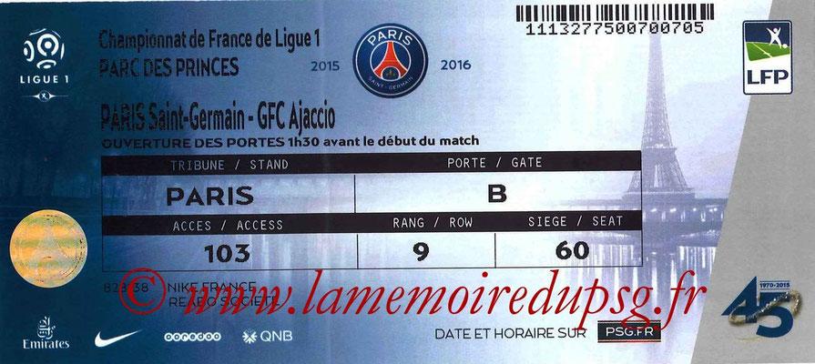 Tickets  PSG-Gazelec Ajaccio  2015-16