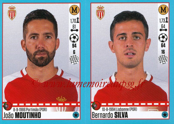2016-17 - Panini Ligue 1 Stickers - N° 498 + 499 - João MOUTINHO + Bernardo SILVA (Monaco)