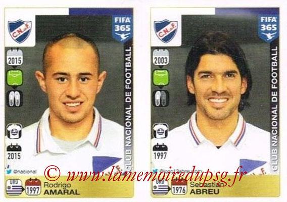 2015-16 - Panini FIFA 365 Stickers - N° 819-820 - Rodrigo AMARAL + Sebastián ABREU (Club Nacional de Football)