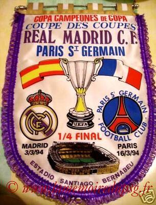 Fanions  PSG-Real Madrid  1993-94