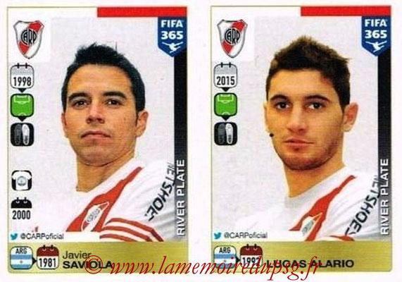 2015-16 - Panini FIFA 365 Stickers - N° 127-128 - Javier SAVIOLA + Lucas ALARIO (River Plate)