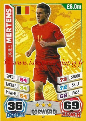 Topps Match Attax England 2014 - N° 027 - Dries MERTENS (Belgique)